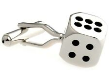 Dice Gamble Silver Cufflinks Las Vegas Board Game Luck