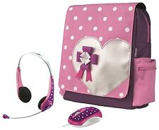 BRAND NEW PINK HEARTS BAG BACKPACK, MATCHING MOUSE & HEADSET BUNDLE