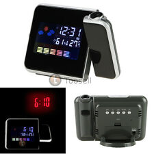 Digital Weather LCD Snooze Alarm Clock Color Display w/LED Backlight+AAA Battery