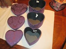 Storage Boxes, Fancy, Purple Heart Shaped Boxes By Once Upon A Rose, NY ,3 Boxes