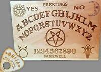 Wooden Ouija Board & Planchette w/ Wiccan Goddess, Horned God & Pentagram