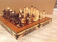 Russian Wooden Chess Set with Carving Chessmen and Chessboard