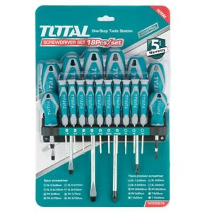 Total Tools 18 PIECE MAGNETIC SCREWDRIVER Precision Set with Soft Grip THT250618