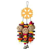1X(Bird Toys Parrot Toys Parrots Cage Chewing Toy with Bells Colorful Wood 2C5)