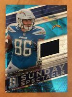 Hunter Henry 2018 Sunday Spectacle Neon Blue Jersey #d 14/99 Chargers Razorbacks