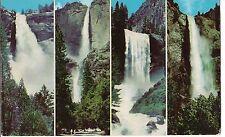 Multi View 4 WATERFALLS Falls Yosemite National Park CALIFORNIA Postcard CA