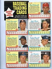 1962 POST CEREAL UN-CUT 7-CARD PANEL w/ ROBERTO CLEMENTE, YOGI BERRA & ASHBURN