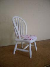 Dollshouse miniature ~ * VINTAGE * PINK & IVORY FLORAL ~ Chair