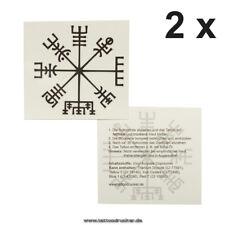 2 x Vikinger Kompass Tattoo - Vegvísir - Keltischer Kompass Temporary Tattoo (2)