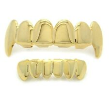 14K Gold Plated Hip Hop Teeth Grillz Top Fangs & Bottom Grill Set *HIGH QUALITY*