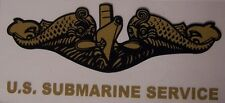 Window Bumper Sticker Military Navy Submarine Service Dolphins New Decal gold