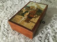 Antique Scandinavian Folk Art wooden box with painted lid and key