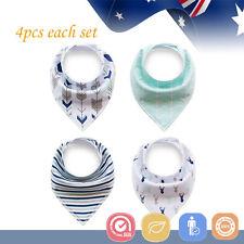 4pcs Baby Bibs Pure Cotton Bandana Feeding Kids Toddler Unisex Boy Stripe Blue