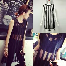 Women Summer Sleeveless Long T-Shirt Blouse Tops Bodycon Mesh Club Mini Dress