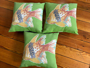 """Set of 3 Outdoor Accent Pillows Green  Fish Theme  Square 16"""" x 16"""""""