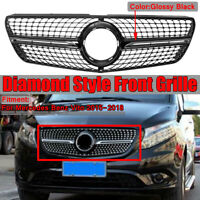 Diamond Black Front Upper Bumper Grille Grill For Mercedes-Benz Vito 2015-2018