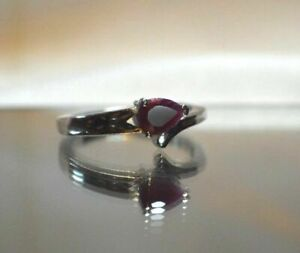 .85ct. NATURAL GENUINE AFRICAN RED RUBY IN SILVER RING