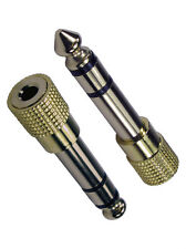 "3.5mm Jack Socket to 6.35mm 1/4"" Stereo Jack Plug Adapter GOLD METAL"
