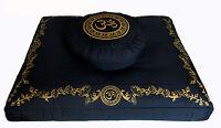 "Meditation Cushion Zafu Pillow & Zabuton Cushion Floor Mat Set ""Om in Lotus"""