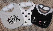New! Baby Girls 3 Bib Set/Lot (Halloween; Black Cat; So Cute It Spooky) Size 0-6