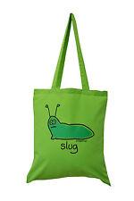 NUOVO Tote Bag: SLUG, Lime verde, 100% COTONE