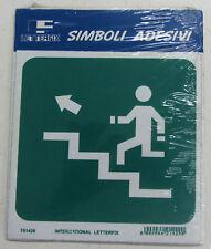 Placa señalización adhesivo Letterfix Verde Blanco escalera salida alto