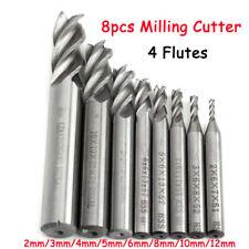 8pcs 4 Flûtes Tungstène Fraise Foret Perceuse En Carbure End Mill Coupe 2-12mm