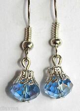 light blue crystal silver tone EARRINGS Jewellery
