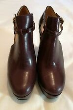 Robert Clergerie Filona Cutout Leather Wedge Ankle Boot  Burgundy uk 6.5 eu 39.5