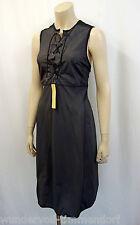 NEU PRADA Kleid Gr.D38 I44 Dress ohne Arm geschnürter Ausschnitt Grau Schwarz