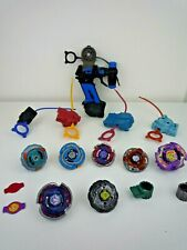 VINTAGE METAL FUSION MASTERS BEYBLADE BUNDLE WITH LAUNCHERS, RIPCORDS & GUN