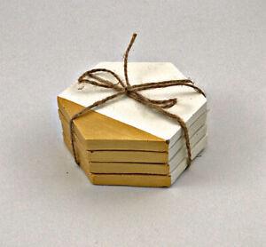 4 pcs UK concrete Hexagon Coasters White Gold Table placemats Tray Mat Gift Set