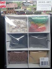 Busch 7068 Schotter-Set, Gleisschotter braun, grau, Quarzsand beige, Modellkohle