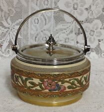 Antique Biscuit Barrel Silver Plated Handle & Mount By Taylor Tunnicliffe & Co