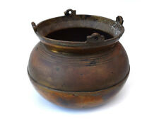 Vintage Brass Bronze Rustic Primitive Hangable Kettle Bowl Basin w/ Rounded Base