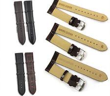 Genuine Leather Wrist Watch Band Strap Black/Brown Women Men Steel Buckle Unisex