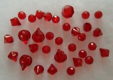 Lot of 32 Large Hard Red Acrylic Plastic Beads