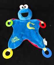"Sesame Street Cookie Monster Teething Activity Blanket Lovey 18"" Blue Toy Gund"