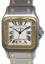 Cartier Santos Galbee 18k Yellow Gold/Steel Silver Roman Dial 29mm Watch 1566