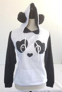 = Teen Hoodie Panda Print Long Sleeve With Black Ears Pullover Size Medium