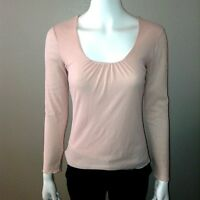 J Jill Blouse Size XS Womens Long Sleeve Top Shirt Pink Ruched Scoop Neck
