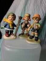 """4"""" Vintage Napcoware Figurines, Boy Caroling, Schoolgirl, Boy Camping"""