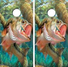 Large Mouth Bass Cornhole Board Decal Wrap Free Laminate