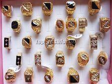 20pcs vente en gros bijoux lots mixtes homme plaqué or strass Anneaux Free Ship