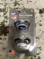 NFL New England Patriots Pacifiers Orthodontic 3 Mo & Up New Sealed BPA Free