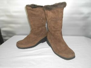 Women's Khombu Brown Leather Winter Midcalf Side Zip Boots Size 9 B