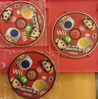AS IS - 3x LOT Super Mario Bros Nintendo Wii UNTESTED DISCS ONLY + DISPLAY COVER