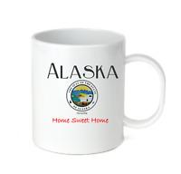 Coffee Cup Mug Travel 11 15 oz City State Country Alaska State Seal Home Sweet