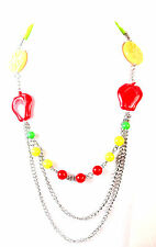 LADIES CHUNKY LAYERED SUMMER FRUIT COLORFUL STATEMENT NECKLACE BRIGHT BOLD (B2)