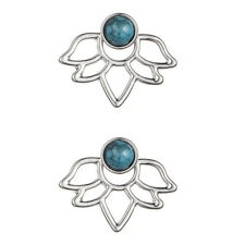 Boho Bohemian Silver Turquoise Stone Lotus Flower Stud Earrings